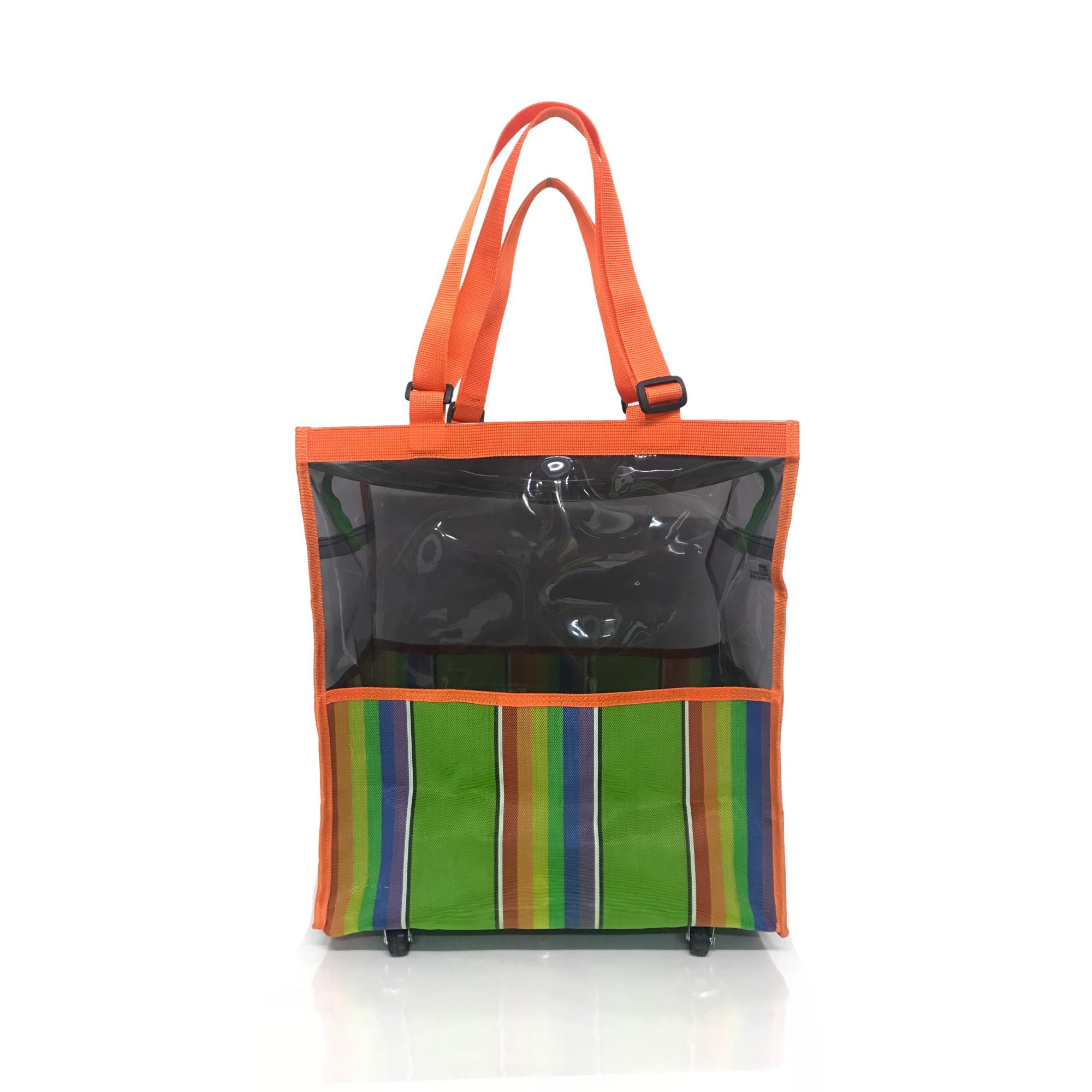 prezzo basso prezzo all'ingrosso beni di consumo Green Rainbow Clear Folding Shopping Bag Cart with Wheels ...